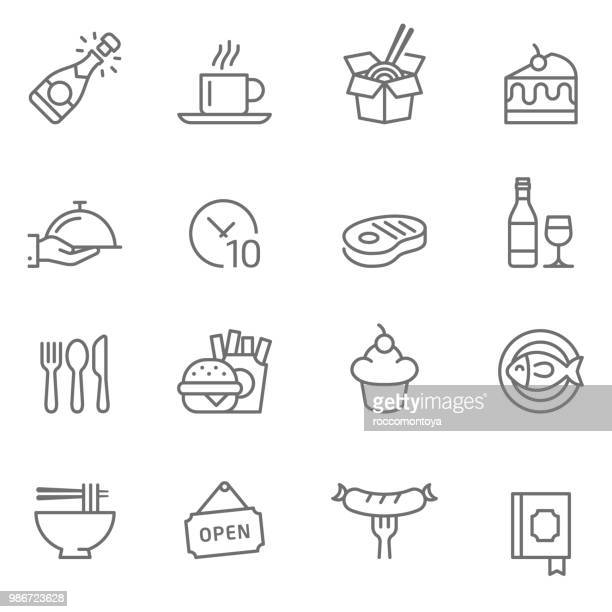 set of restaurants icons - unhealthy eating stock illustrations