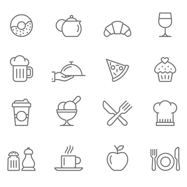 set of restaurants icons - frozen food stock illustrations
