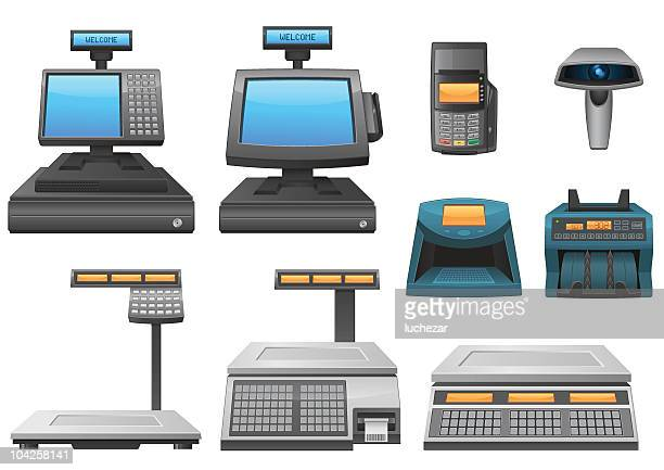 set of retail equipment detailed icons - card reader stock illustrations, clip art, cartoons, & icons