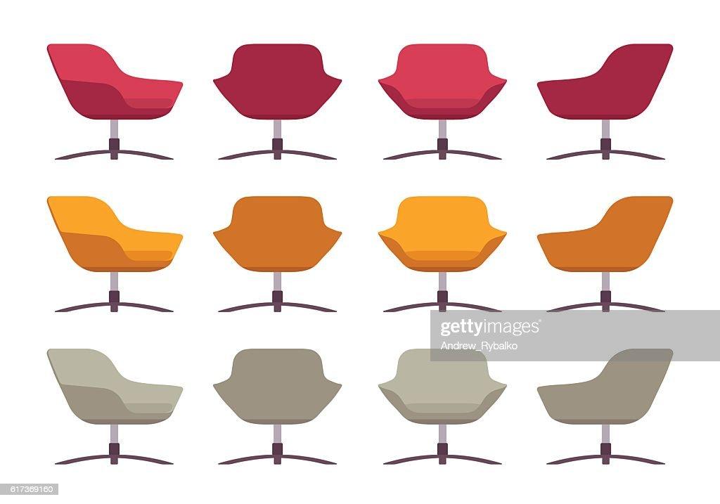 Set of retro armchairs, crimson, orange and grey