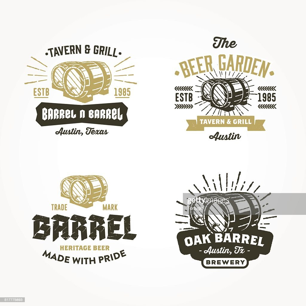 Set of retro badge logo designs with wodden barrels