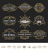 Set of retro badge logo for vintage product and business