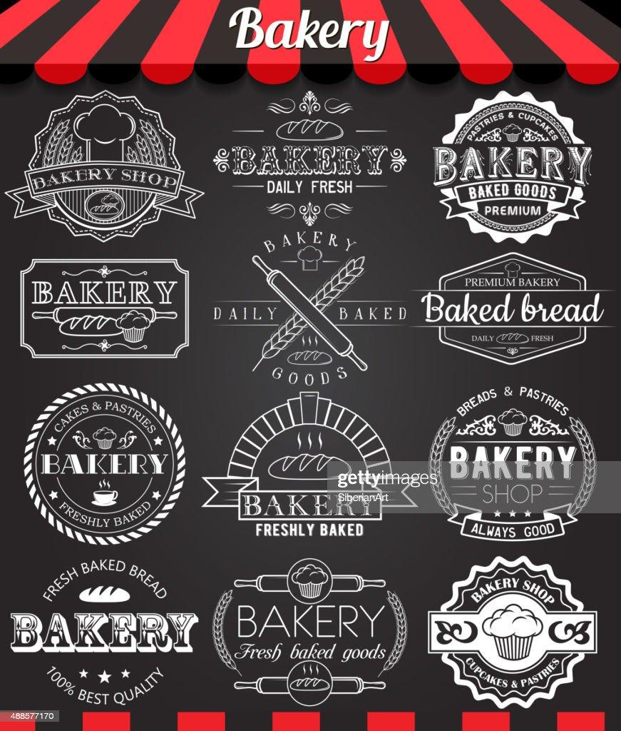 Set of retro bakery logo badges and labels on blackboard