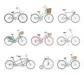 Set of retro bicycles on white background