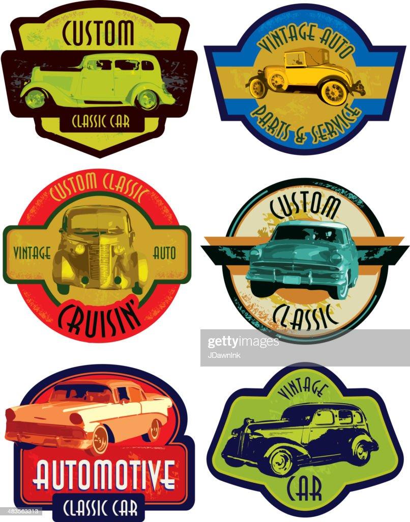 Classic Car Signs : Set of retro classic car signs or labels vector art