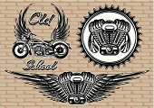set of retro emblems on the motorcycle theme