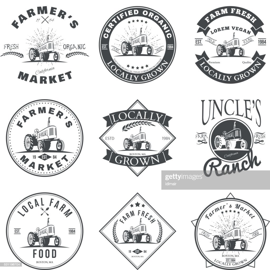 Set of retro farm fresh labels, badges and design elements