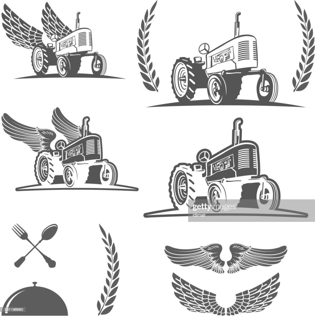 Set of retro farm tractor design, badges and design elements