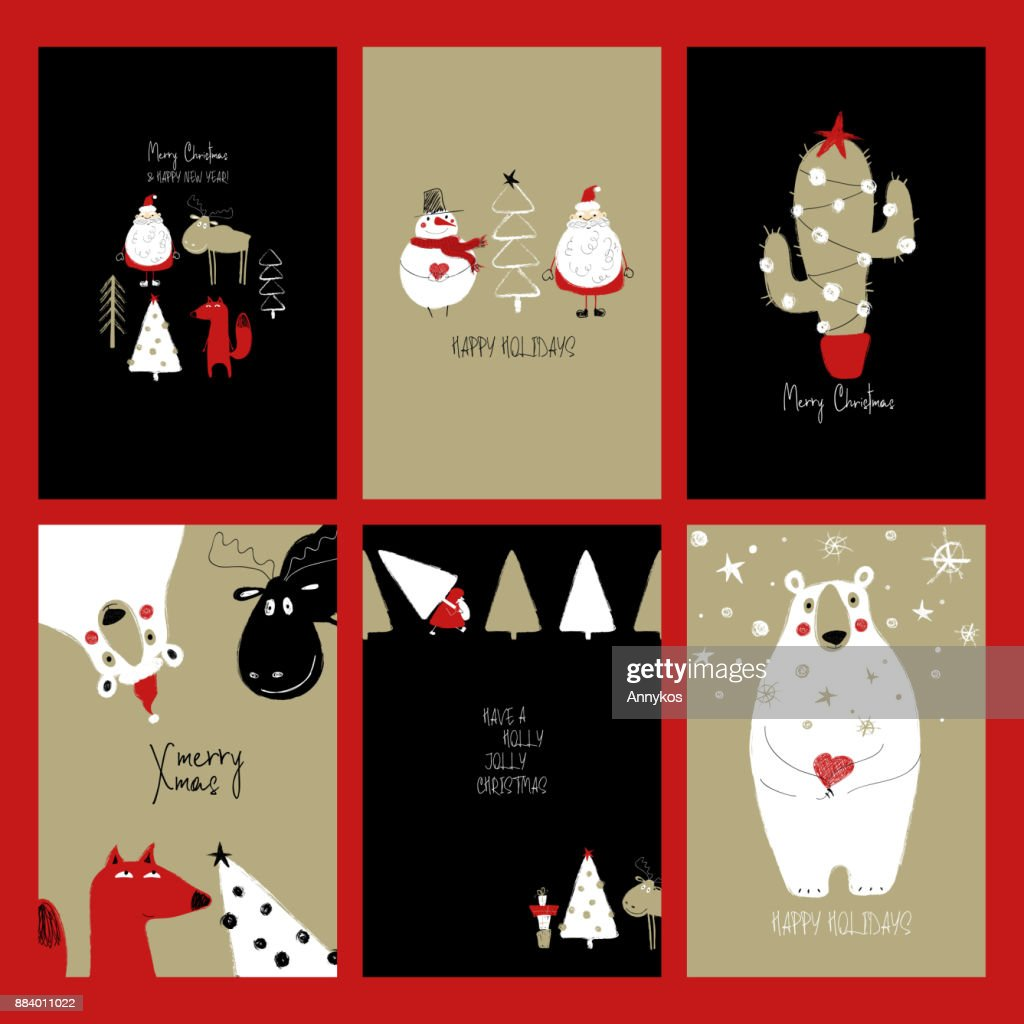 Set Of Retro Funny Christmas Cards Vector Art Getty Images