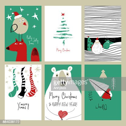 Set Of Retro Funny Christmas Cards Vector Art | Getty Images