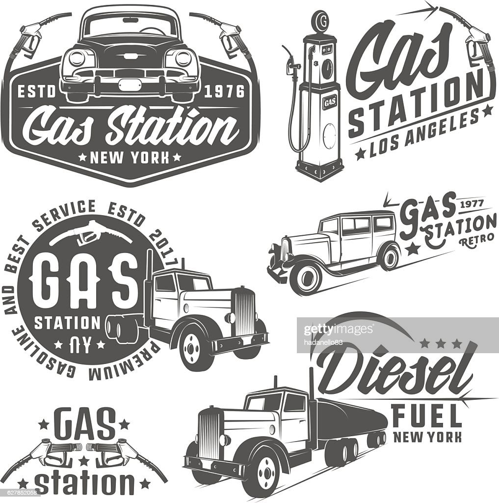 Set of retro gas station car and design elements ,emblems