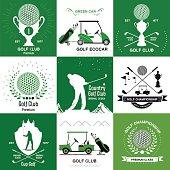 Set of retro Golf logos, emblems.