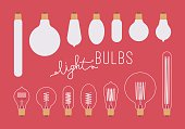 Set of retro light bulbs aganst crimson background