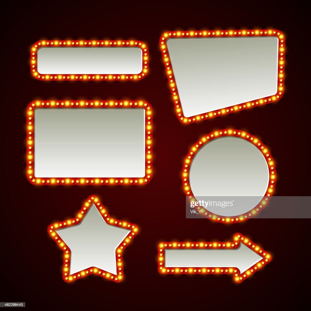 Set of retro light frames. Vector illustration