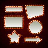 Set of retro light frames. Vector illustration