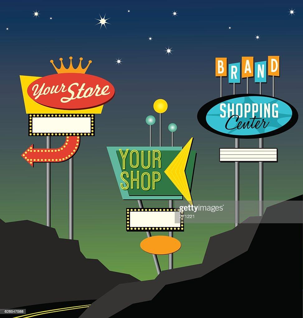 set of retro lighted roadside signs. Edit for your design.