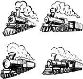 Set of retro locomotives on white background. Design elements for label, emblem, sign.