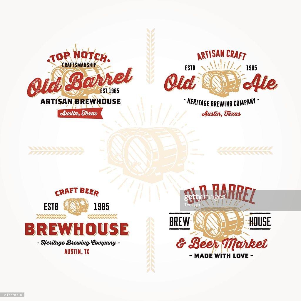 Set of retro logo designs with wodden barrels