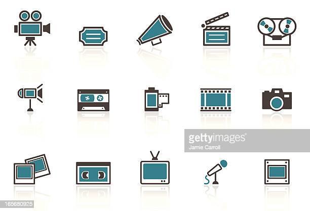 A set of retro media icons on a white background