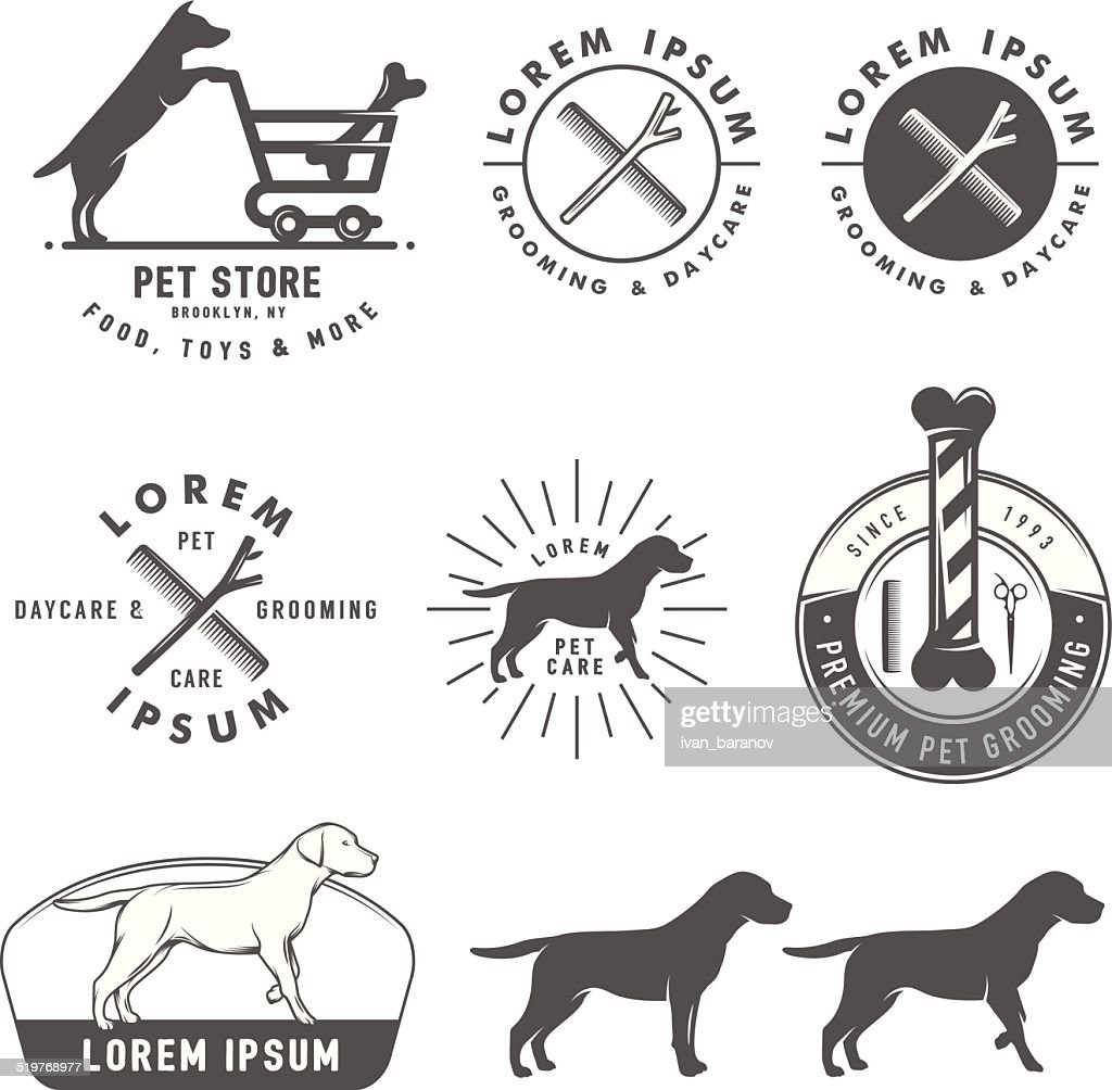 Set of retro pet care labels, badges and design elements