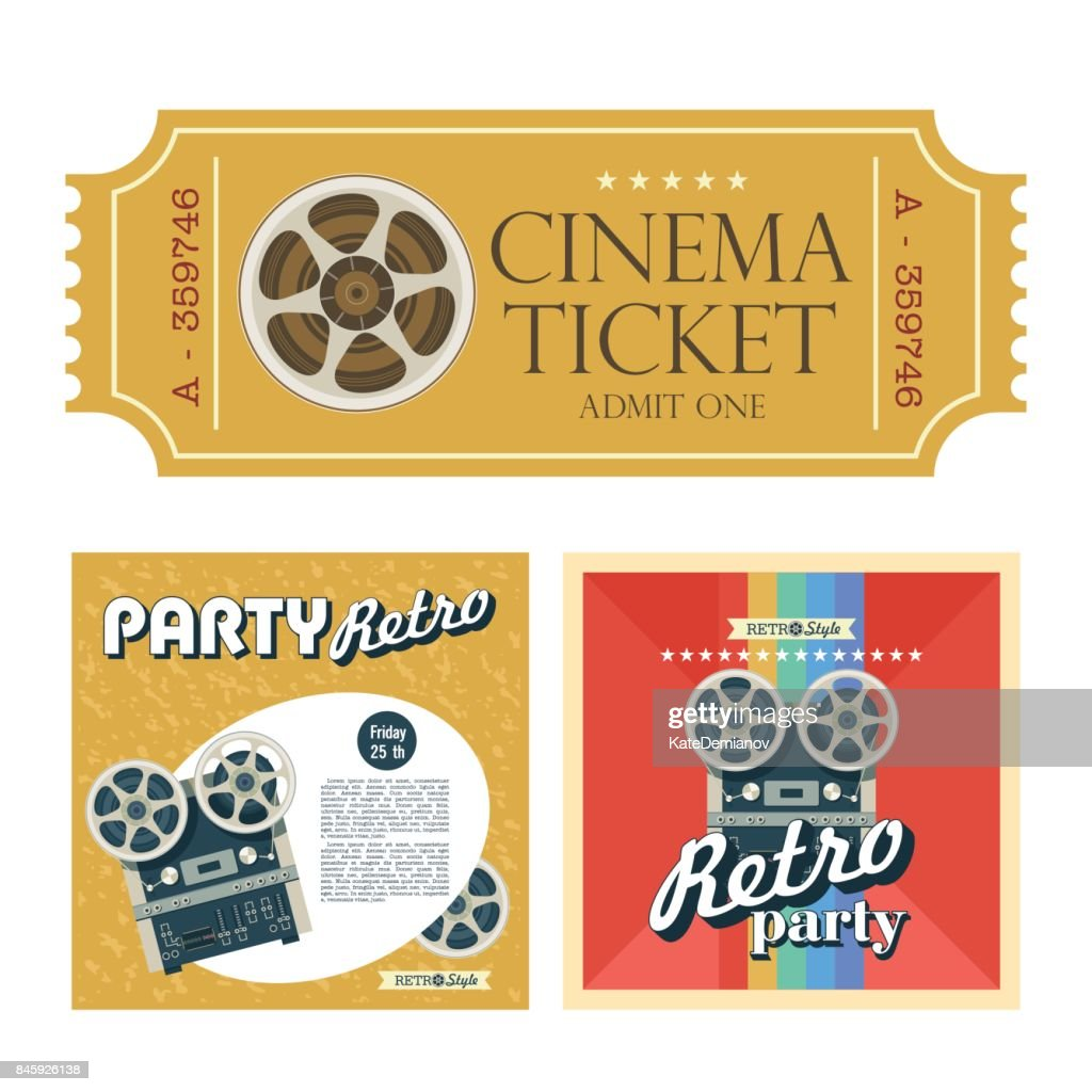 Set of retro posters with the image reel to reel tape with space for text. Design vintage cinema tickets. Vector illustration.