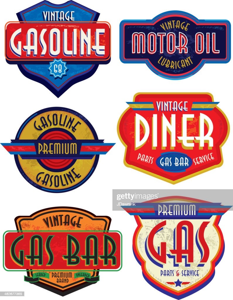Set of retro revival or Vintage Gas Bar signs