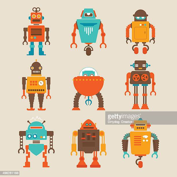 Robot vector art and graphics getty images set of retro robots malvernweather Gallery