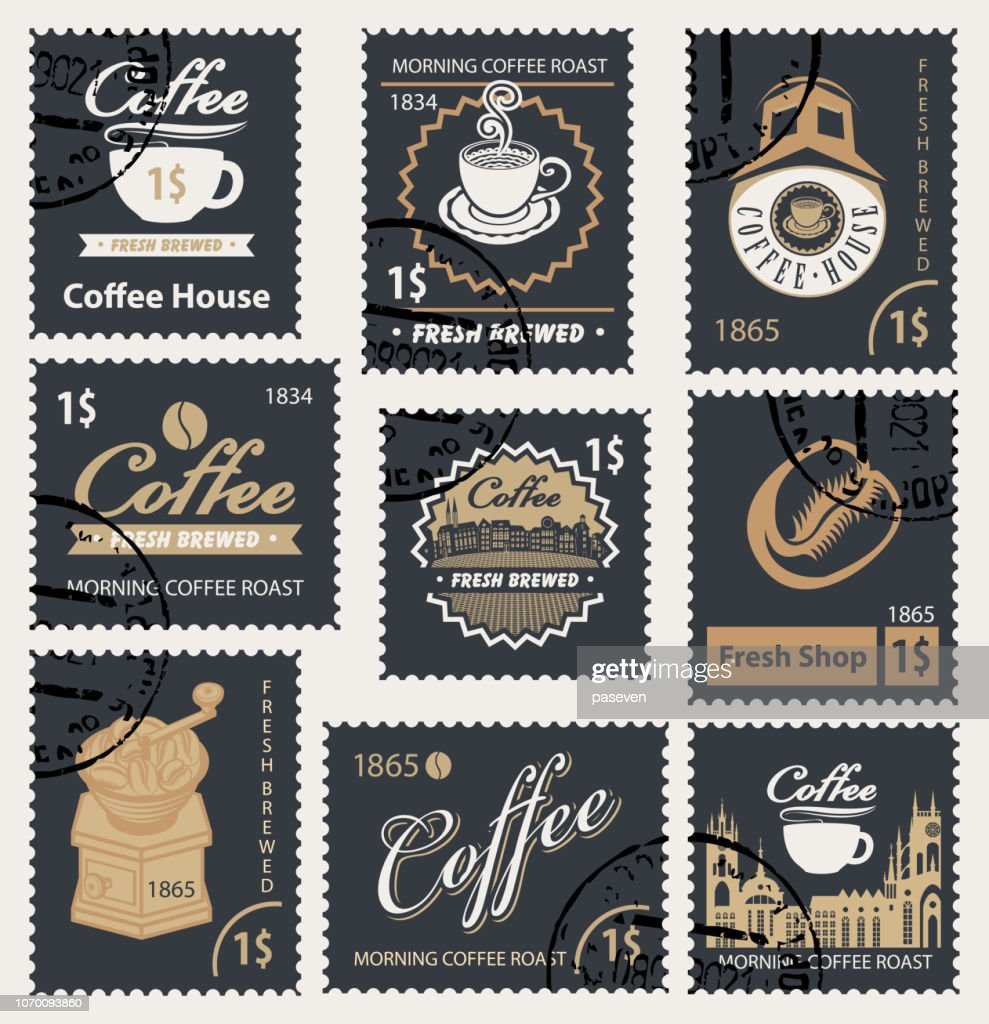 set of retro stamps on the theme of coffee