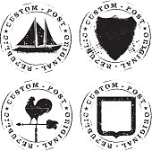 set of retro stencil seals