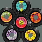 set of retro style 45 record label designs