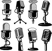 Set of retro style microphone icons isolated on white background. Design element for label, emblem, sign, poster.
