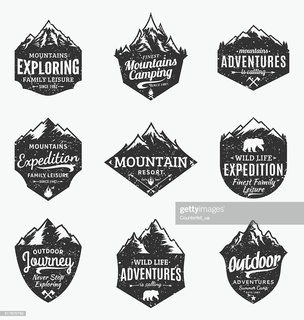 Set of retro styled vector mountain and outdoor adventures labels