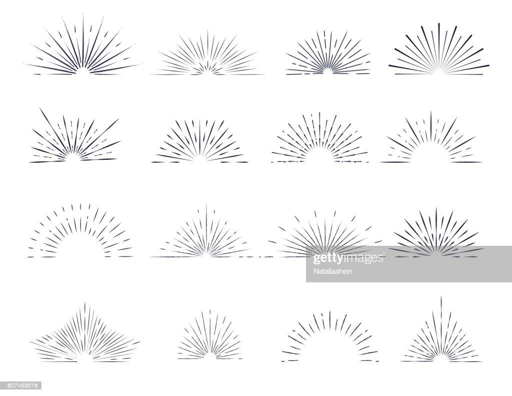 Set of retro sunburst rays design elements.