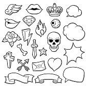 Set of retro tattoo symbols. Cartoon old school illustration