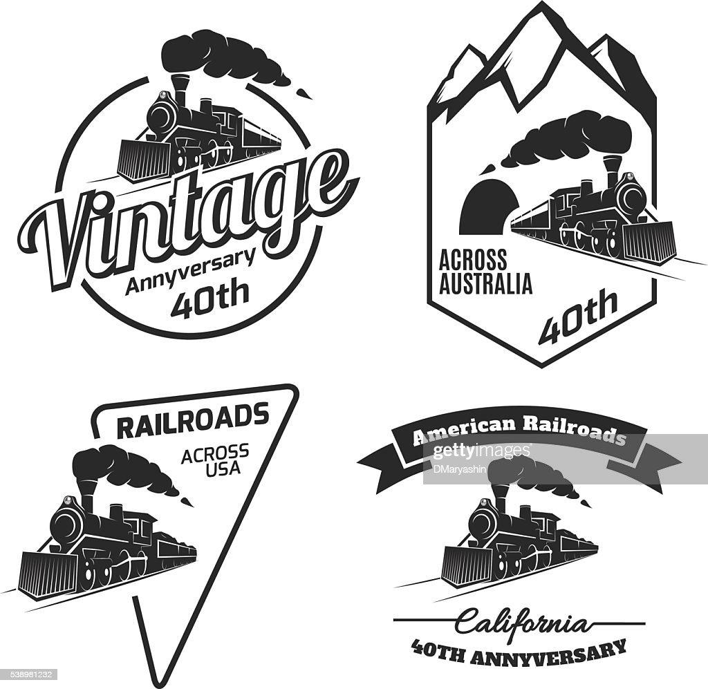 Set of retro train emblems and icons.