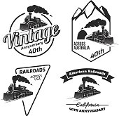 Set of retro train emblems and icons.