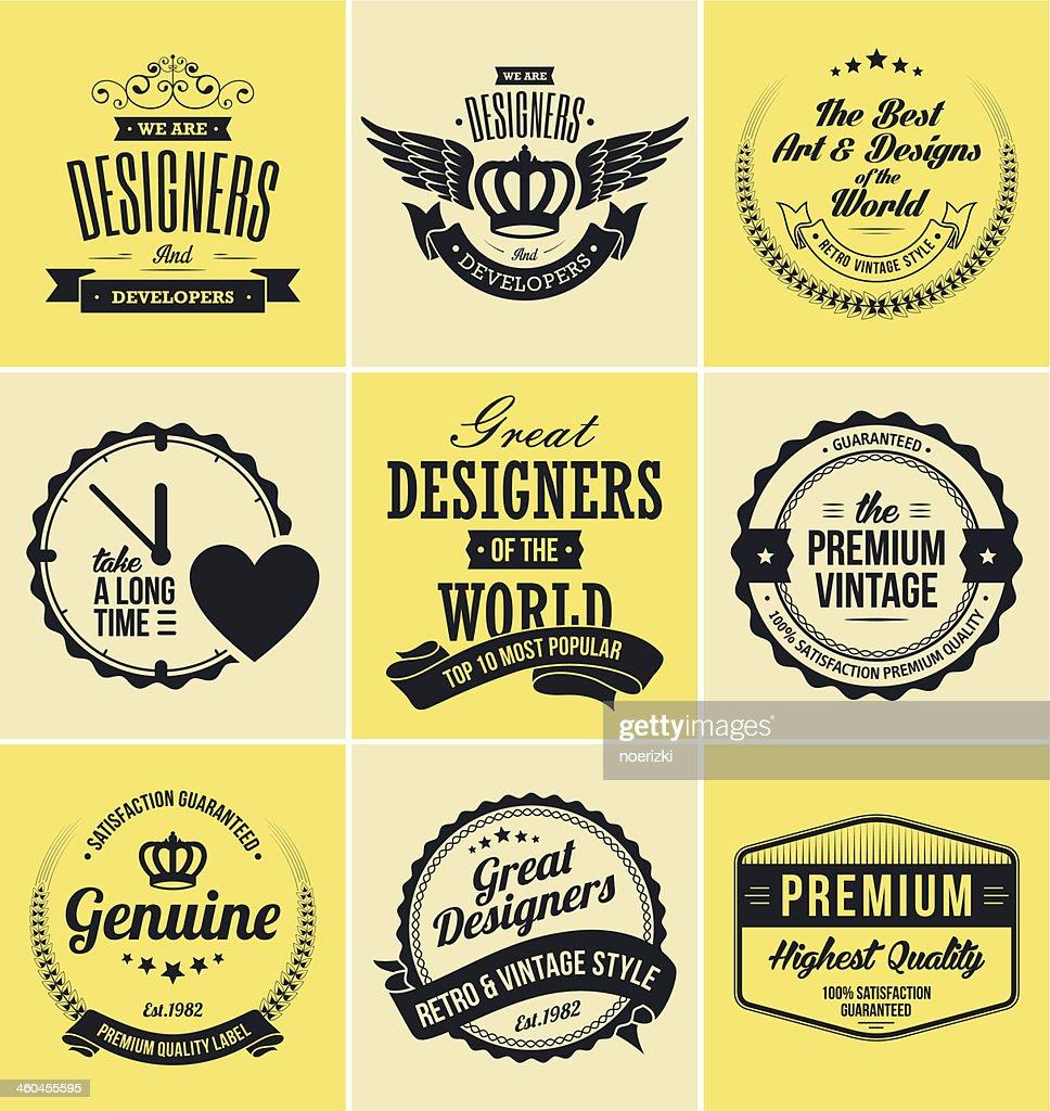 Set of Retro Vintage Badges and Labels