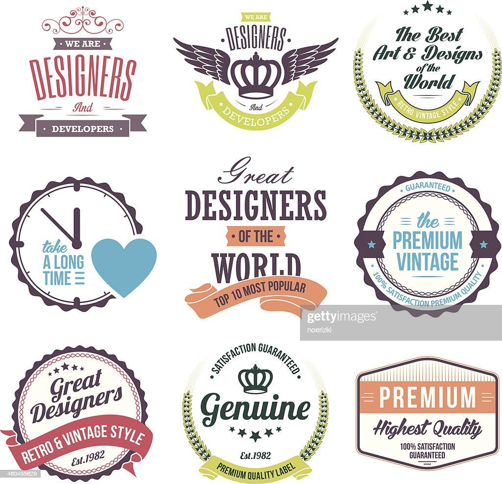 Set of retro vintage designer badges and labels