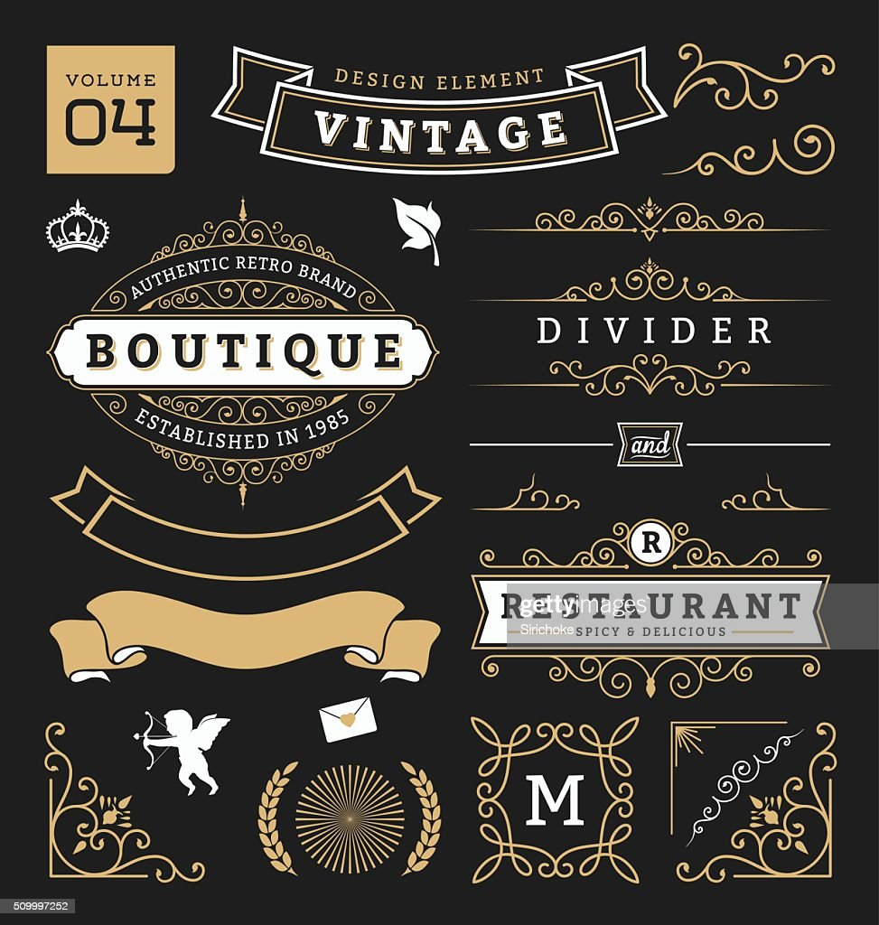 Set of retro vintage graphic design elements. Collection 4