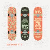 Set of retro vintage print on a skateboard