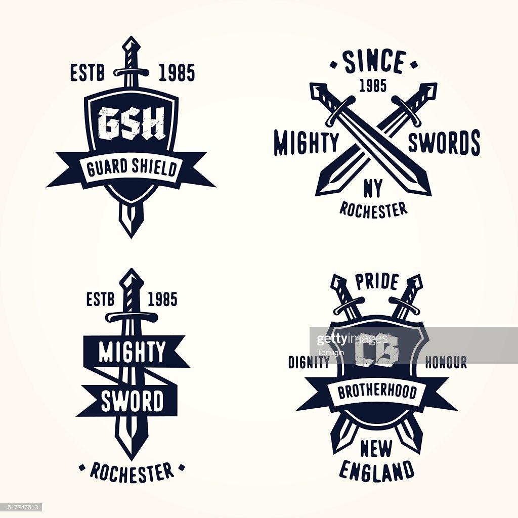 Set of retro vintage sword badges