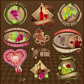 Set of retro wine labels