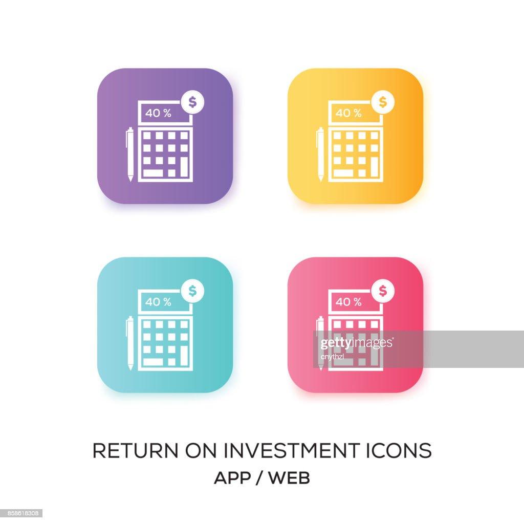 Satz von Return On Investment-App-Symbol : Stock-Illustration