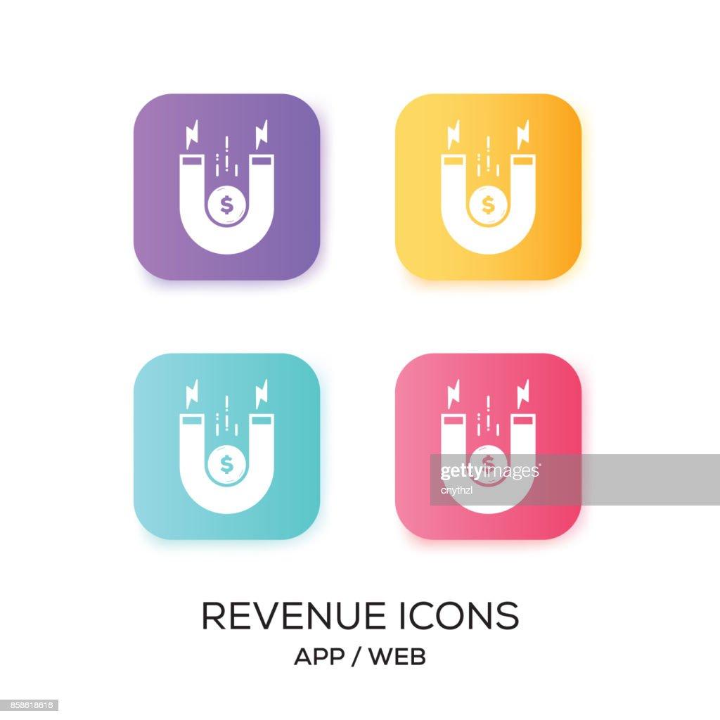 Satz von Einnahmen App-Symbol : Stock-Illustration