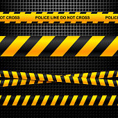 Set of ribbons police lines on a black background technology. Vector illustration.