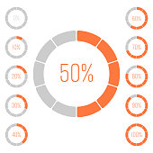 Set of ring pie charts with percentage value. Performance analysis in percent. Modern vector grey-orange infographic graph elements