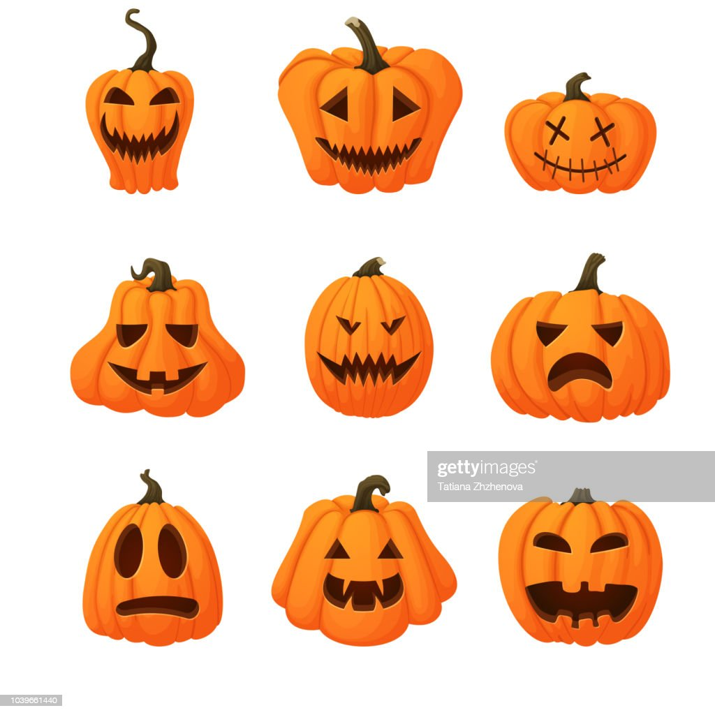 Set of ripe orange pumpkins with funny faces isolated on white background. Halloween, harvest icon. Different shapes.