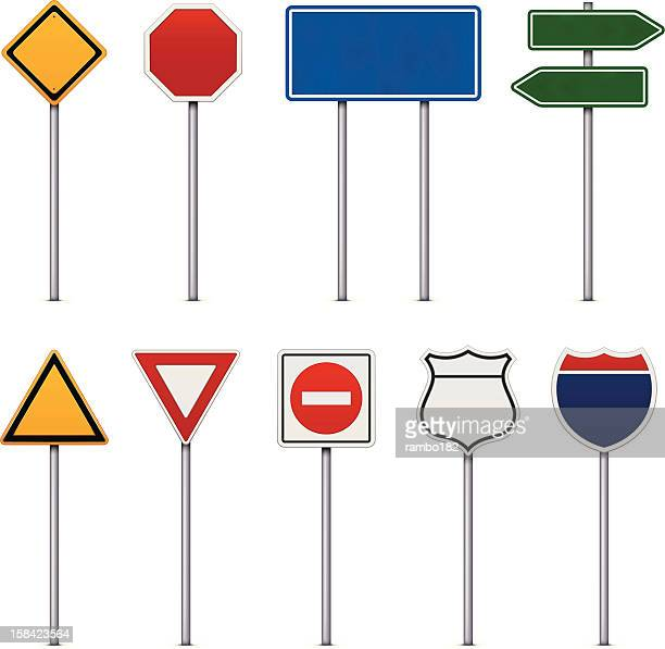 set of road signs - thoroughfare stock illustrations, clip art, cartoons, & icons