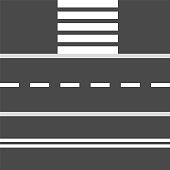 Set of road stretch and crosswalk design elements, stock vector illustration
