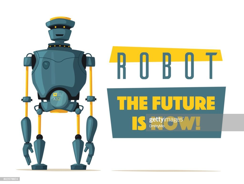 Set of robots. Technology, future. Cartoon vector illustration